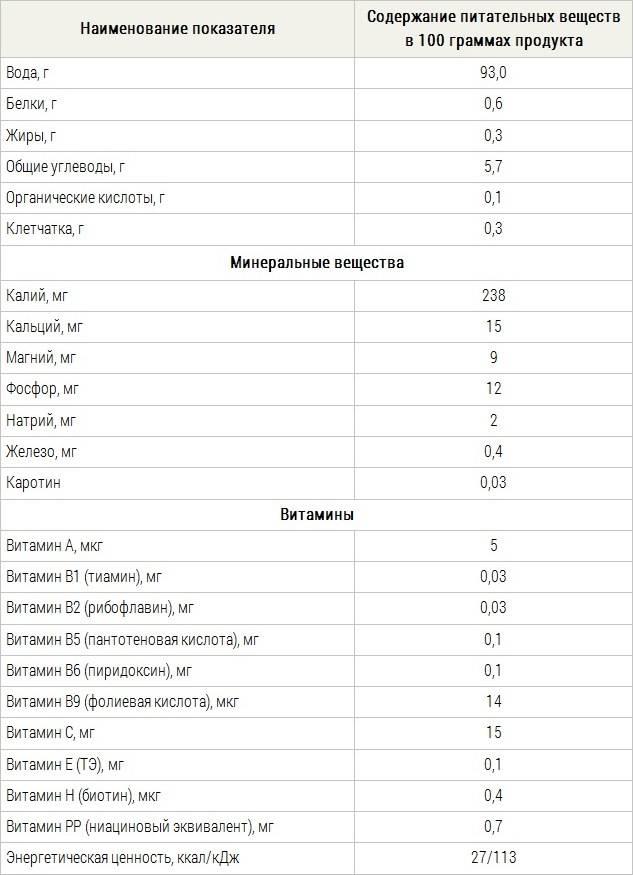 Таблица содержания питательных веществ в кабачке